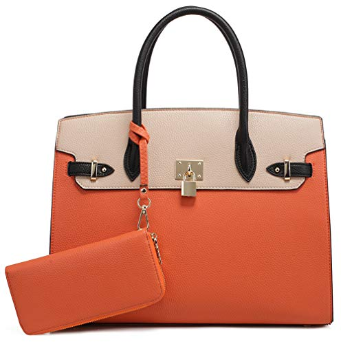 DELUXITY Women's Designer Top Handle Satchel Handbag Tote Bag Briefcase 2pc set | Orange/Beige