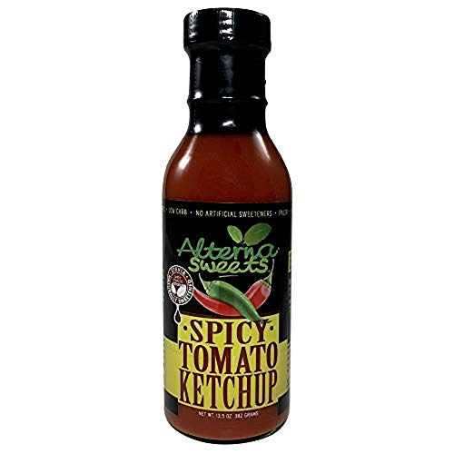 AlternaSweets Spicy Ketchup - 13.5 oz - Stevia Sweetened - Classic Tomato Flavor - Low Carb - KETO/Paleo/Atkins/ Diabetic Friendly - Non GMO - Gluten Free