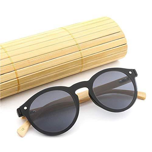 LAMZH Gafas de Sol Moda Hombres y Mujeres Moda Gafas de Sol Marco Redondo piernas de bambú Gafas de Sol (Color : Green, Size : Free)