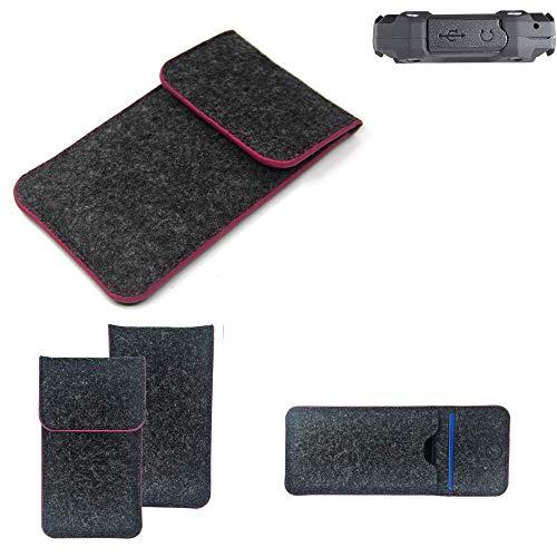 K-S-Trade Filz Schutz Hülle Für Simvalley Mobile SPT-210 Schutzhülle Filztasche Pouch Tasche Hülle Sleeve Handyhülle Filzhülle Dunkelgrau Rosa Rand