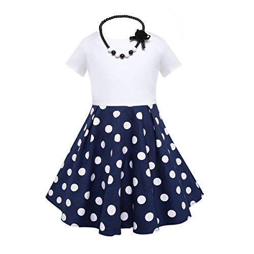 HBBMagic Kurzarm Rockabilly 50er Vintage Retro Kleid mädchen Baumwolle Kleid Polka Dots Faltenrock mit Halskette Zubehör Geschenke für Kinder ,12 Jahre,Blau / Weißer Tupfen