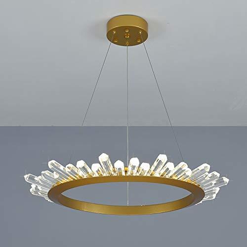 BINGFANG-W Nordic araña de cristal anillo circular Villa Dúplex Edificio moderno Salón Comedor Iluminación Interior Moderno (Emitting Color : 3 Colors Changeable)