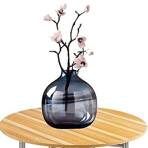 LXLAMP Jarrón, Jarron de Suelo jarrones Grandes florero Cristal jarrón Cristal Grande Jarrones de Flores, Elegante Decoración para la Decoración del Escritorio - Altura 20 cm (Color : Smoky Blue)
