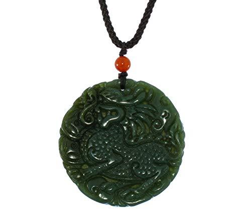 JL 6182 Collier avec Pendentif en Forme de Kylin sculpté à la Main en Chine Certifié Naturel