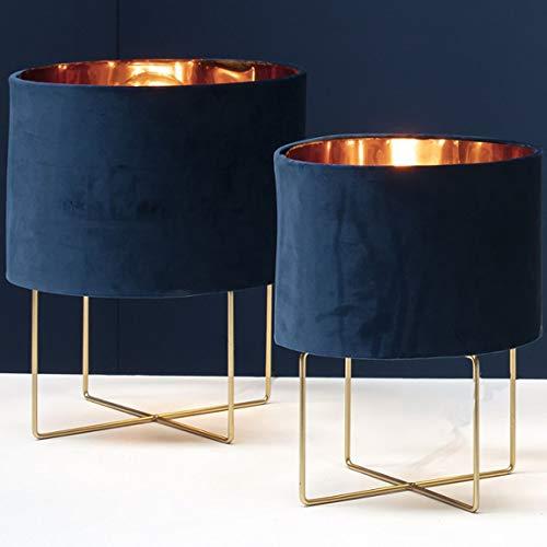 Bada Bing Hochwertige Moderne Tischleuchte Mit Lampenschirm in BLAU Ca. Ø 28 x H. 37 cm Tischlampe in Gold-Optik Mit Samtschirm Und Metallgestell Edel Elegant Geschenk Deko 85