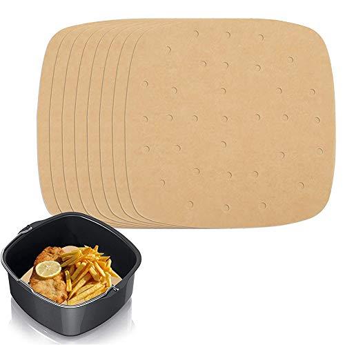200 PCS Air Fryer Pergamino Papel, Dim Sum Papel, Papel de Aire Cuadradas Antiadherentes Para el Hogar Para Hornear Pasteles, Cocinar (17cm,22cm)