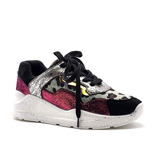 Angkorly - Damen Schuhe Sneakers - Turnschuhe - Streetwear - Metall Detail - Sporty chic - Tierdruck Animal-Print - Leopard - Glänzende Keilabsatz high Heel 5 cm - Fushia BL270 T 40