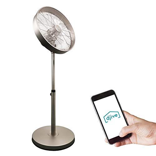 djive Flowmate Classic 120 cm Standventilator mit App & Alexa Sprachsteuerung, Retro Stahl Design Bodenventilator, Smart Home Ventilator mit Fernbedienung, Timer, 80° Oszillation, 50W, Warm Silver