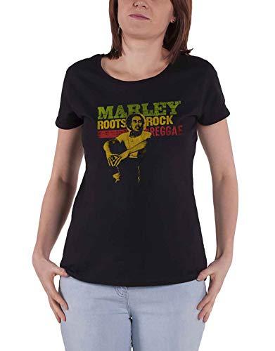 Bob Marley T Shirt Roots Rock Reggae Logo Nue offiziell Damen Skinny Fit