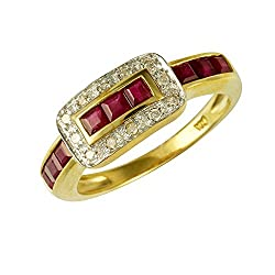 Hallmarked 9ct Yellow Gold - total metal weight, 2.330 grams. Genuine gemstones: 9 x Square cut Rubies, totalling 0.801 carats & Diamond accents of 0.072 carats. Ring Size: UK N, US 6 1/2, French 54, German 17. Unique belt buckle design ring comes in...