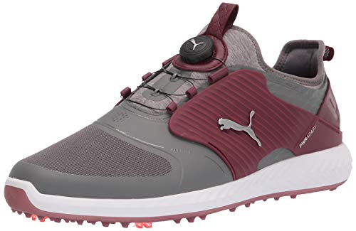PUMA Men's Ignite Pwradapt Caged Disc Golf Shoe, Quiet Shade Silver-Zinfandel, 8.5