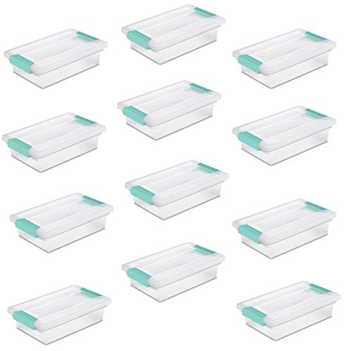 Sterilite 19618606 Small Clip Box Clear Storage Tote Container w/Lid (12 Pack)