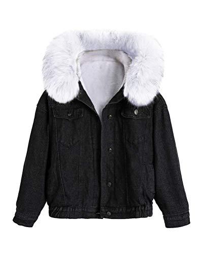 Tomwell Damen Sweatjacke Frauen Sweat Parka Warme Winterjacke Jeansjacke Jeans Mantel Kapuzenjacke Kurze Jacke Outerwear D Schwarz B M