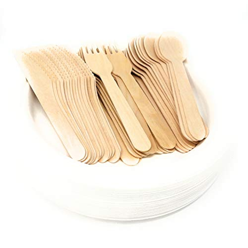 Handybundle Food Grade Wooden Cutlery Set, 50 pcs Knives, Forks, Spoons, Rigid 9 inch Ba-gasse Plates, Eco Friendly, Biodegradable and Compostable. Perfect for Picnics, Garden, Parties Eat in or Out