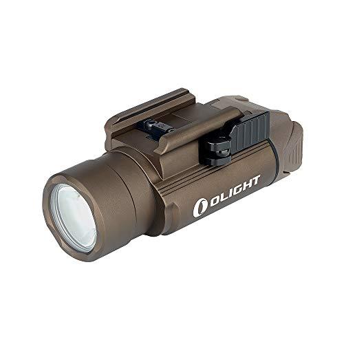 OLIGHT PL-Pro valkyrie 1500 lúmenes luz de Arma PL-2 Recargable, batería incorporada, Carga USB magnética, Montaje de liberación rápida para Glock, Picatinny Rail, Desert Tan (FDE)