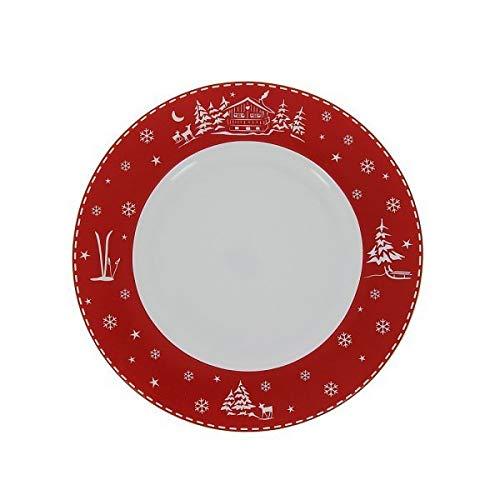 TABLE&COOK Lot de 6 Assiettes Plates Chalet Rouge