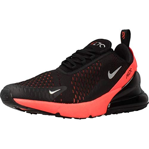 Nike Men's Air Max 270 Shoe, Scarpe da Campo e da Pista Uomo, Multicolor (Black/Metallic Silver/Bright Crimson 026), 43 EU