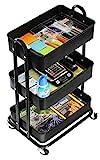 SimpleHouseware Heavy Duty 3-Tier Metal Utility Rolling Cart, Black