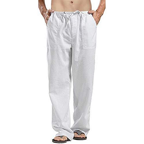 Vanvene - Pantaloni da uomo in lino, stile casual, vestibilità larga, elastico in vita con coulisse, pantaloni a gamba dritta per yoga, spiaggia bianco S