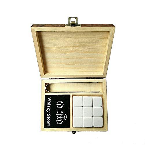 NEYOANN Piedras de Whisky con Caja de Madera Palabras Whisky Rocas Piedras Piedra Cuadrada Madera Caja - Blanco