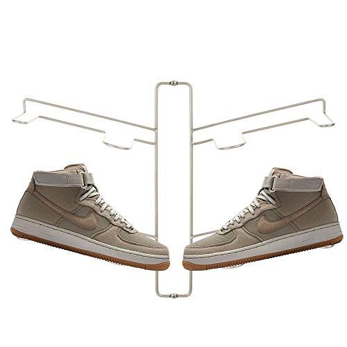 mDesign Organizador de zapatos – Zapatero de pared para dos pares de zapatillas, calzado deportivo, etc. – Una alternativa al mueble zapatero que ahorra espacio – plateado mate