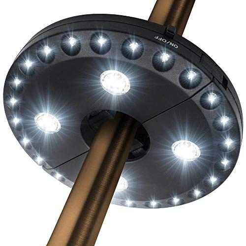 Jannyshop Sonnenschirm LED Beleuchtung Abnehmbare Camping Zeltlampe 200 Lumen mit 3 Beleuchtungsmodi Batteriebetriebene LED Taschenlampe für Durchmesser 2,5-4,5 cm
