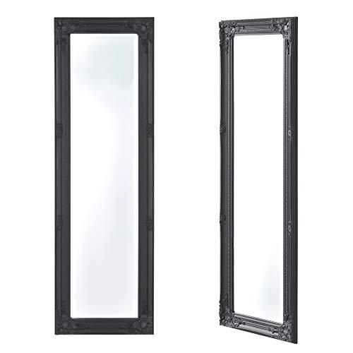 [en.casa] Specchio da Parete a Figura Intera 132 x 42 x 3,5 cm Forma Rettangolare con Fissaggio Verticale/Orizzontale Cornice in Eucalipto Stile Barocco - Grigio Scuro