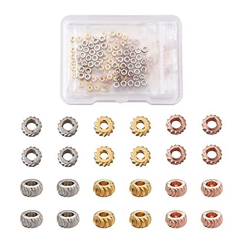 Beadthoven - 150 cuentas espaciadoras redondas de latón de 4 mm Rondelle para monedas de metal, espaciador de metal de corte elegante para hacer pulseras, 3 colores