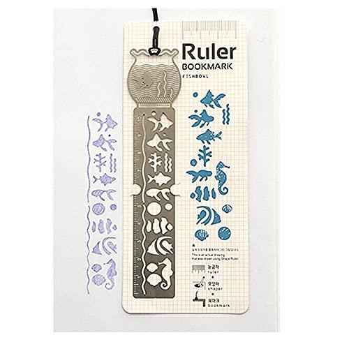 xinying Marcadores lindo Kawaii creativo caballo jaula hueco metal marcador regla para niños estudiantes regalo escolar suministros (color: peces)