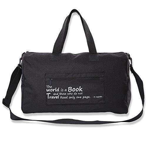 Borsone da donna, borsa sportiva da palestra, 26 l, impermeabile, resistente agli strappi, borsa da yoga con tracolla regolabile, tasca laterale per uomo e donna, Nero