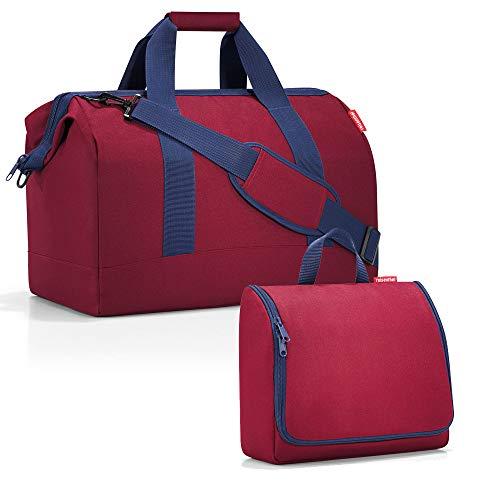 reisenthel - Set di borse da viaggio factotum, composto da un borsone di taglia L e una trousse da bagno di taglia XL Rosso Dark ruby 30 l