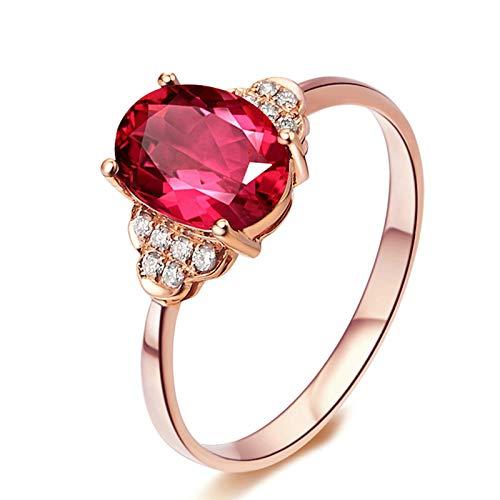 KnSam Bague Femme Fine Tourmaline Rouge Naturelle Abeille 1.3ct, Or Rose 18 Carats Élégance Cadeau Noël