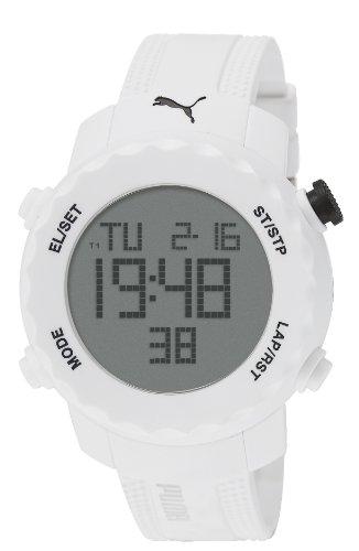 PUMA PU911031004 - Reloj Digital de Cuarzo Unisex con Correa de plástico, Color Blanco