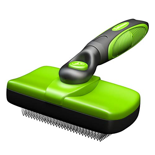Tminnov Self Cleaning Slicker Brush, Dog Brush / Cat Brush for Shedding and Grooming, Deshedding Tool for Pet - Gently Removes Long and Loose Undercoat, Mats and Tangled Hair