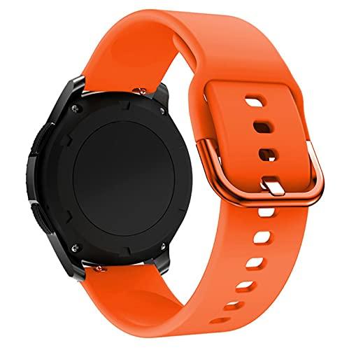 18mm 20mm 22mm Correa de Silicona para Reloj Samsung Galaxy 46 42mm Gear S3 Active2 Active1 Correa de Reloj Huawei Amazfit BIP Pulsera 22mm Naranja
