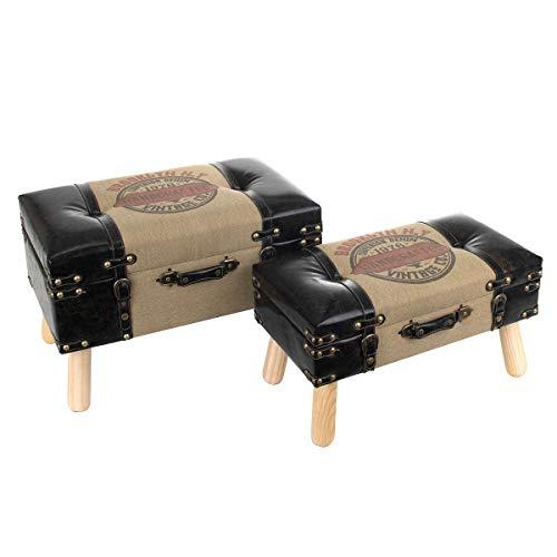 Set de 2 Taburetes-Baúles Decorativos de Madera y Poly Vintage'Maletas'. Sillas y Sillones. Puffs. Cajas Multiusos.Decoración Hogar. Regalos Originales. Muebles Auxiliares. 60 x 36 x 40 cm.