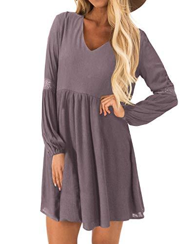 YOINS Sexy Kleid Damen Sommerkleid für Damen Babydoll Kleider Brautkleid Tshirt Kleid Rundhals Langarm Minikleid Langes Shirt Lose Tunika Strandkleid Baumwolle-lila EU44