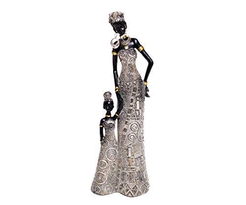Brillibrum Design Afrikanerin Mutter Mit Kind Afrika Frau Deko Dekoration Dekofigur Style Afrikatische Skulptur Massai Zulu Himba Statue Groß Polyresin