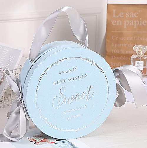 (Embalaje de 3 Piezas) HFDJins Creativo Cinta Redonda Caja de Regalo de Mano Nupcial Caja de Regalo de San Valentín Caja de Dulces, tamaño 20 * 9 cm