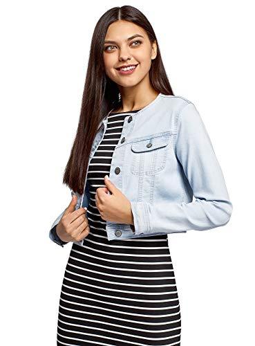 oodji Ultra Donna Giacca in Jeans Senza Colletto, Blu, IT 44 / EU 40 / M