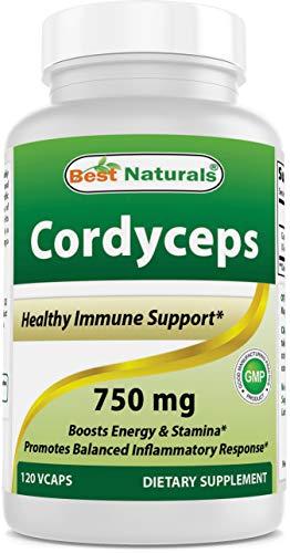Best Naturals Cordyceps Sinensis Mycelium Mushroom Powder 750 mg 120 Veggie Capsules