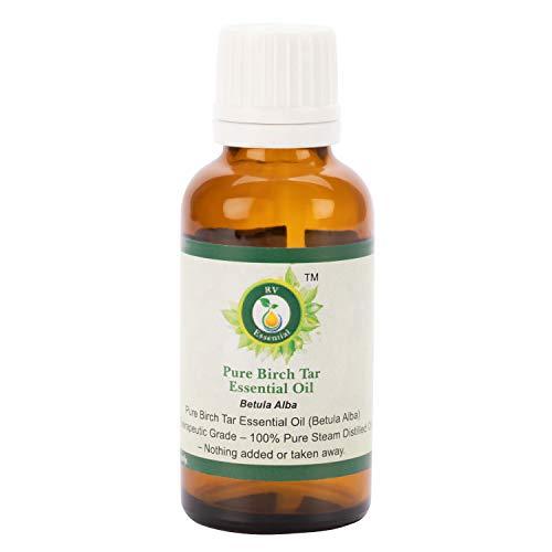 R V Essential Aceite esencial de alquitrán de abedul puro 50ml (1.69oz)- Betula Alba (100% puro y vapor natural destilado) Pure Birch Tar Essential Oil