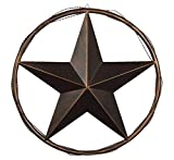 Urbalabs 24 Metal Barn Star Western Decor Cast Wire Rope Circle Ring Rustic Wall Decor Texas Lone Star Bronze Brown Finish Metal Texas Home Wall Decor Indoor Outdoor Western Decor for Home