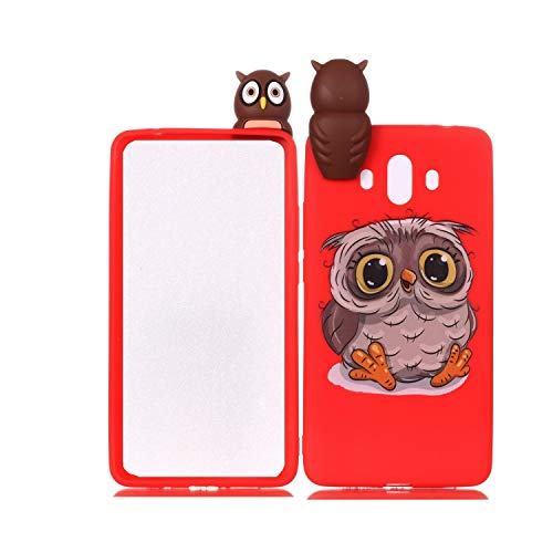 LAXIN Cute owl Case for Huawei Mate 10,Soft 3D Silicone Case,Cute Fruit Rubber Cover,Cool Kawaii Cartoon Gel Cover for Kids Girls Boys Men Woman Fun Soft Silicone Shell