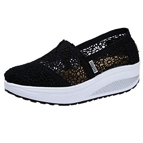 BUKINIE Damen Loafer Mesh Go Running Sneaker Athletic Walk Gym Schuhe Sport Run, Schwarz - Schwarz - Größe: 38 EU