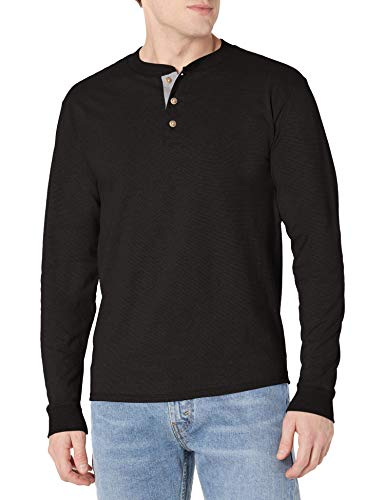 Hanes Men's Long-Sleeve Beefy Henley T-Shirt - Medium - Ebony