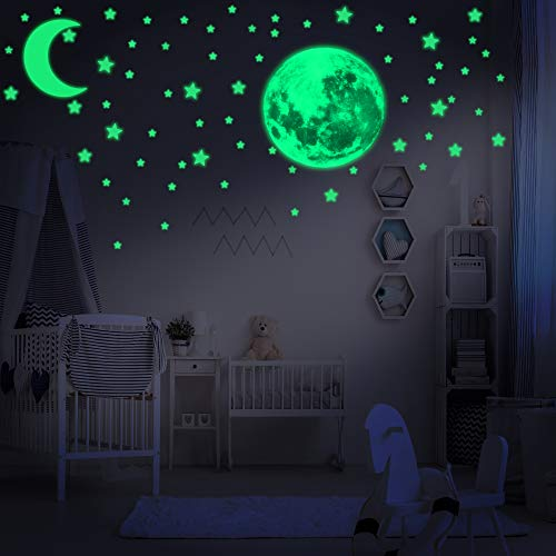 LUMOSX Glow in The Dark Stars for Ceiling for Kids Room Decor with Realistic Full Moon & Crescent Moon - 234 pcs of Easy to Apply Adhesive Glowing Stars Decals for Kids Wall Decor & Ceiling Decor