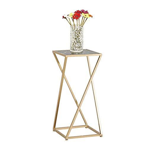 YXB Flower Stand Indoor Metalen Marmer Hoek Plant Stand Kleine Koffie Tafel Thuis Bloemenrek Mini Tafel (Kleur : Goud+zwart, Maat : 55cm)