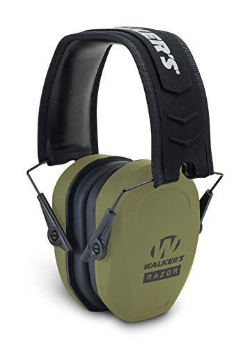 Razor Slim Passive Earmuff - Ultra Low-Profile Earcups - Olive Dark Green, One Size