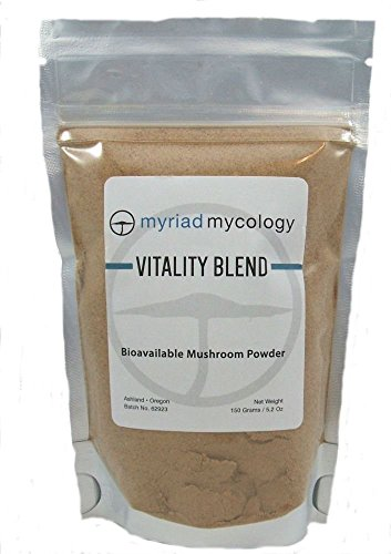 Myriad Mycology Vitality Blend - Mushroom Powder 5.2oz or 150g. 10 Medicinal Mushroom Powders. Lions Mane, Cordyceps, Turkey Tail, Reishi, Chaga, Maitake, Shiitake, Blazei, Agarikon, and Mesima Sang-Huang